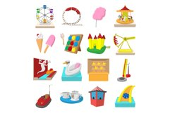 Amusement park cartoon icons Product Image 1