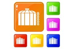 Oil storage tank icons set vector color Product Image 1