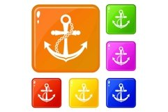 Anchor icons set vector color Product Image 1