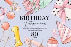 Happy birthday icons set Party Instagram highlight cover PNG Product Image 1