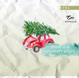 Cute Retro Car with Christmas Tree, Hand painted Watercolor Product Image 3