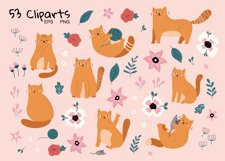 Funny Cats and Flowers clipart set Product Image 2