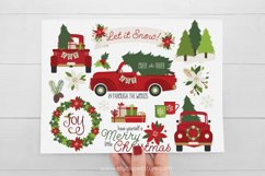 Vintage Red Christmas Truck Clipart - Vector Clip Art & SVG Product Image 2