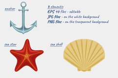 Vector illustration of sea shell, star and anchor. Patterns Product Image 3