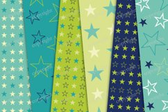 Navy blue and green seamless backgrounds, stars papers Product Image 3