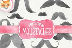 Mustache watercolor clipart, moustache printable, french Product Image 1