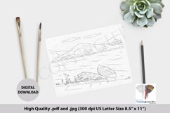 Boats in the Village River Coloring Page Product Image 1
