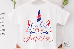 Little miss America SVG America Unicorn 4th of july svg Product Image 1