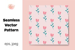 Pink Lily Flowers Digital Paper, Seamless Pattern Product Image 1