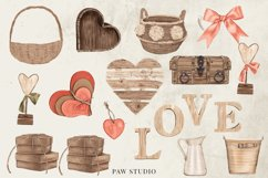Bohemian Red Roses Leaves Country Wood Clipart Product Image 4