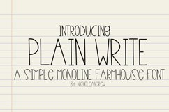 Plain Write - A Simple Monoline Farmhouse Font Product Image 1