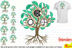 Family Tree Circle Embroidery Design Machine Instant Download Commercial Use digital Outline family love Frame Deep Roots Branches 207b Product Image 1