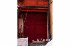 Vintage brown wooden door Antique building exterior detail Product Image 1