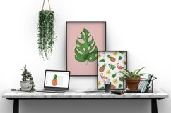 Tropical set of watercolor elements with flamingo Product Image 5