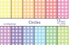 Seamless white polka dot & circles on colored digital paper Product Image 1