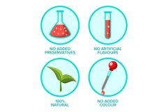 Preservatives Free, Natural Product Vector Stickers Set Product Image 1