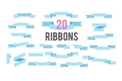 Flat Ribbons Vector Banners Isolated On White Background Product Image 1