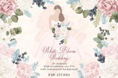 White Pink Flowers Winter Leaves Wedding Bride Clipart Product Image 1
