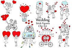 Wedding stick figure clip art Product Image 1