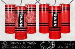 Red Crayon 20 Oz. Skinny Tumbler Wrap Sublimation Design Product Image 1