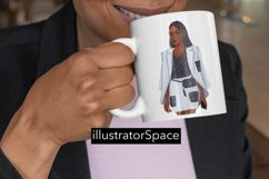 Fashion clipart, African american Boss girl clipart PNG Product Image 4
