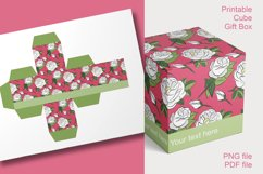 Printable Red Roses Cube Boxes for Small Favors Set of 4 Product Image 5