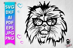 Lion in glasses SVG cut file Product Image 1