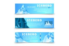 Nature information banners template with iceberg Product Image 1