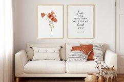 Watercolor Poppy Wall Art, Poppy Wall Print, Bible verse Product Image 3