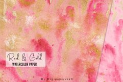 Burgundy watercolor paper, Gold foil watercolor, Red & Gold Product Image 4