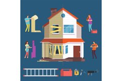 Repair and renovation house vector concept. People with tool Product Image 1