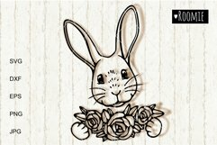 Happy Easter bunny SVG, Rabbit face with flowers Cricut Product Image 2