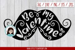 Be my valentine Mustache svg, dxf, png, eps Product Image 1
