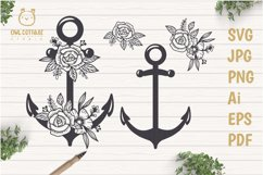 Anchor with Flowers SVG, Nautical Wedding Decor Cut File Product Image 1