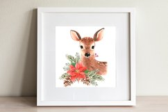 watercolor illustration of cute deer with christmas bouquet Product Image 2