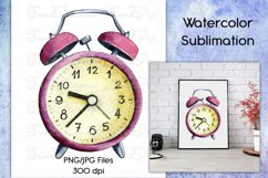 Watercolor Red Vintage Watch PNG/JPG Sublimation Downloads Product Image 1