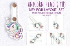 Unicorn Head Keyfob In the Hoop ITH Design Product Image 1