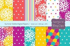 Summer Dahlia Digital Paper Set Scrapbook Paper Floral Scrapbook Paper Product Image 1