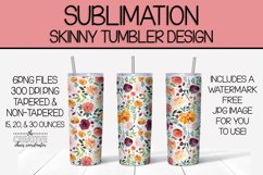 Floral Skinny Tumbler Sublimation Template Product Image 1