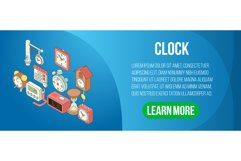 Clock concept banner, isometric style Product Image 1