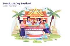Celebrate Songkran Day Festival concept flat illustration Product Image 1