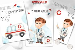 Watercolor Ambulance. Clipart, cards, seamless patterns Product Image 2