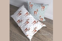 Set of 5 cute watercolor patterns with fawns Product Image 3