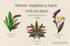 Watercolor bouquets of tropical leaves and flowers. Vintage Product Image 1