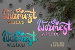 Sublimation Christmas PNG Quote Warmest Wishes Design Product Image 1