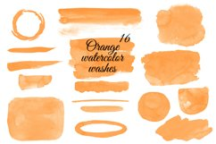 Orange watercolor washes clipart Orange Stains clipart Product Image 1