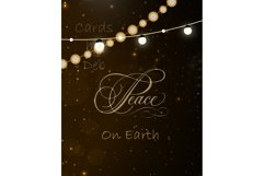 Digital Christmas Card, Printable Digital Christmas Card, Gold Peace on Earth Card, Black and Gold Christmas Card, Happy Holidays Card, Instand Download Card Description Product Image 2