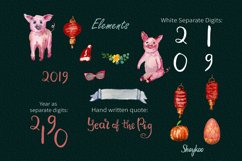 Year of the Pig Clipart, Chinese Year Watercolor Clipart Product Image 4