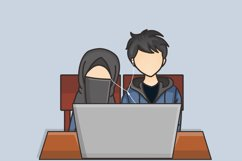 Muslim Hijab Character Vector Illustration Product Image 6