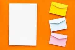 Empty blank paper and colorful envelope. Product Image 1